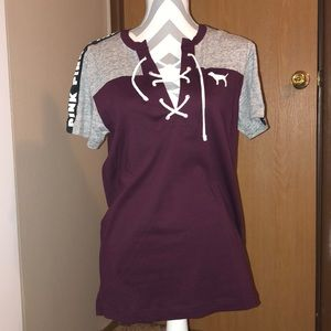 XS VS Pink Campus Tee NWT